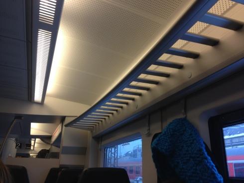 Schönes, ergonmisches Design - leider ohne Funktion: Die Gepäckablagen im Regionalzug sind meistens leer, das Gepäck muss auf den Sitzen gelagert werden.