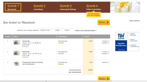 Der Preis für den Badteppich von baur.de war im Warenkorb dann plötzlich höher als auf der Website.