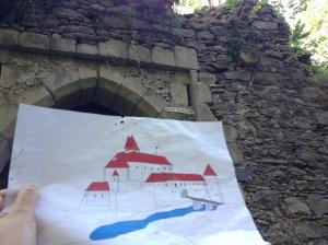 Rekonstruktion von Burg Falkenstein - heute ist nur mehr eine Ruine übrig.