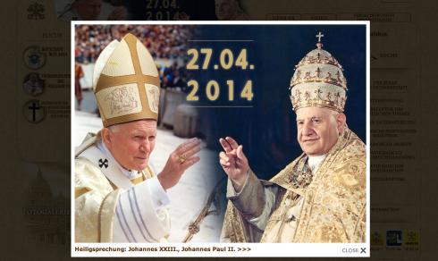 Screenshot vatican.va zur Heiligsprechung am 27. April 2014