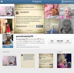 Grandma Betty ließ die Menschen an ihrer Krebserkrankung teilhaben: Bunt wie das Leben ihr Instagram-Account (Screenshots) mit Hochs und Tiefs.