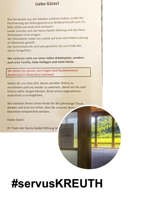 Dieser Aushang hängt an der Tür zur Molkehalle - die Mitarbeiter wollen nicht auf die schwierige Situaion angesprochen werden. (Foto: WInderl)